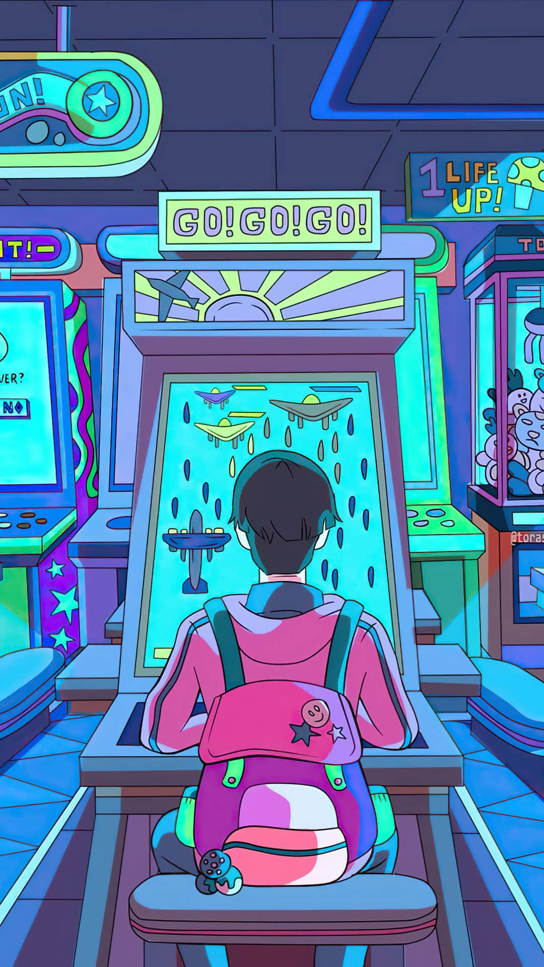唯美动漫街机游戏机插画壁纸