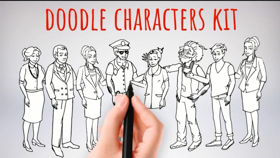 涂鸦的角色AE模版 Doodle Characters Kit