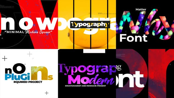 迷你文字特效视频开场AE模版,Minimal Typograpy Opener