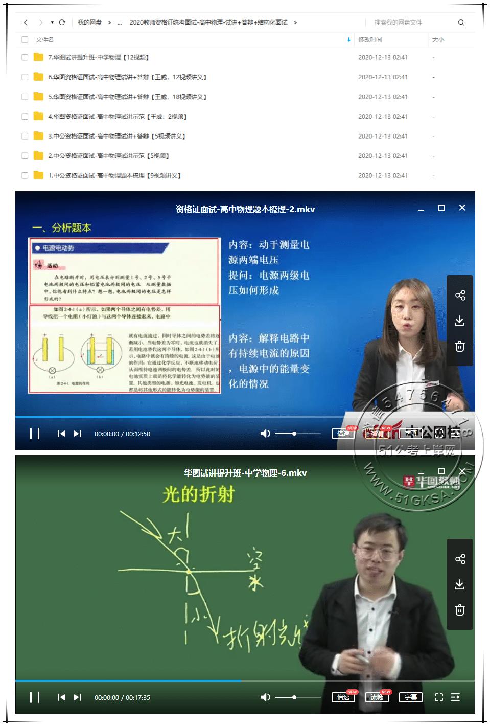 2020高中物理教师资格证统考面试(试讲+答辩+结构化面试)-51公考上岸网