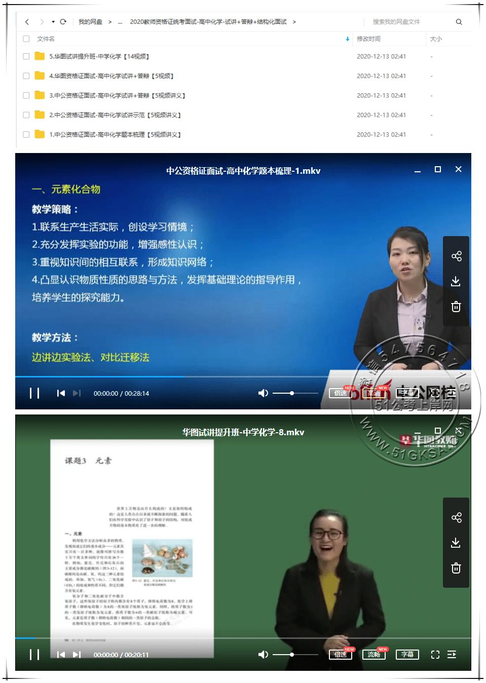 2020高中化学教师资格证统考面试(试讲+答辩+结构化面试)-51公考上岸网
