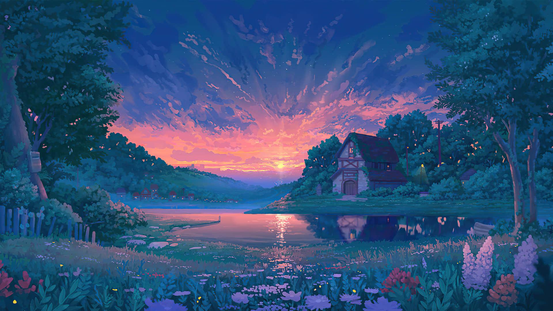 日出日落山间小屋群花盛放宁静的湖面1920x1080