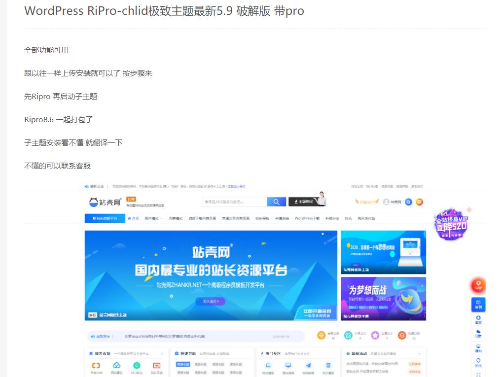 WordPress RiPro-chlid极致主题最新5.9 破解版 带pro