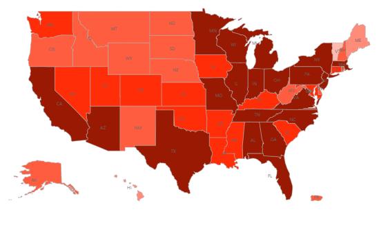 美國新冠肺炎疫情 聯邦政府新增各州疫苗分發量